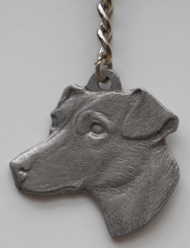 JACK RUSSELL TERRIER DOG PEWTER KEY CHAIN, RAWCLIFFE COMPANY