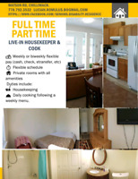 Full Time, Part Time Live in housekeeper/cook position available