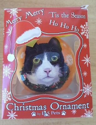 Black And White Christmas (Christmas Ornament- CAT- BLACK and WHITE -)