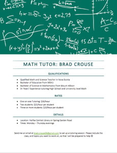 Summer Math Tutor: High School and First Year Courses