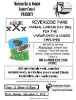 Sept 7-Labour Day BBQ for the under or unemployed & working poor
