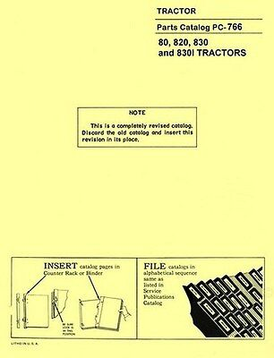 John Deere Model 80 820 830 830-i Tractor Parts Manual Catalog Jd
