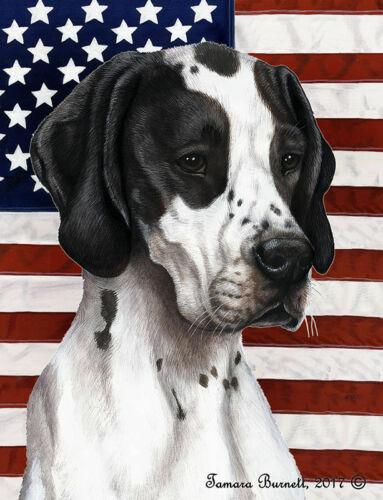 Patriotic (D2) Garden Flag - Black and White English Pointer 324651