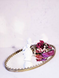 Vintage French Ormolu Jewelry Perfume Mirror Vanity Tray