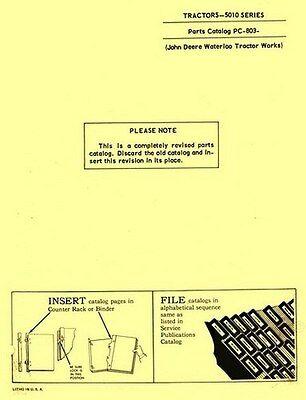 John Deere Model 5010 Tractor Parts Manual Catalog