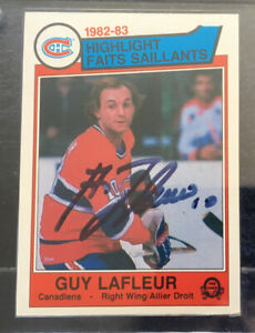 Guy Lafleur Signed 1983 O-Pee-Chee Card + Canadiens Puck