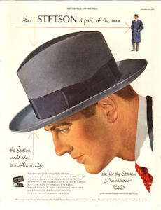 Large (10 ½ x 13 ½ ) 1948 full page color ad for Stetson Hats