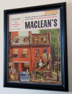 MONTREAL HOMES VINTAGE ART ON 1959 MACLEANS COVER - FRAMED