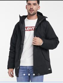 Men's Levi Jacket Parka Coat Medium Black New with tags