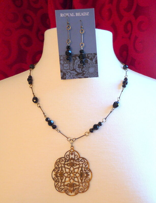 Victorian Mourning Downton Abbey Inspired Jet Black Bead Earring Necklace Set #B