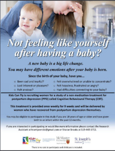 Postpartum Depression Group Therapy Study Brantford