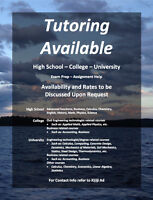 High School, College and University Tutoring