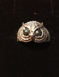 Silver pinky, Jade and Owl rings
