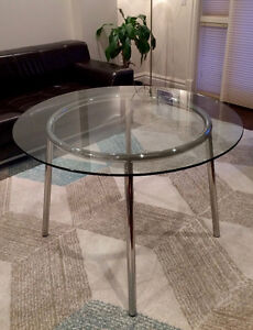 Round Glass Table by IKEA. Seats 4. Like New!