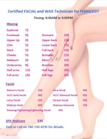 Licensed wax and facial, Brazilian, threading
