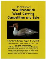 10th Anniversary New Brunswick Wood Carving Competition and Sale