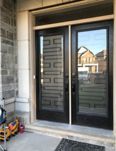 UPGRADE DOOR WITH WROUGHT IRON /DECORATIVE GLASS INSERTS