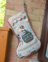 CHRISTMAS Hand Stitched PEACE STOCKING - Beads Ribbon Buttons