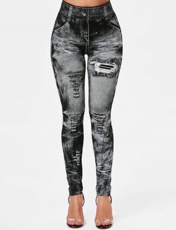 High Waist Women's Denim Jean Leggings Slim Stretch Pencil Jegging Elastic Pants Clothing, Shoes & Accessories