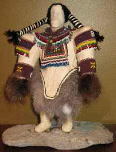 """10"""" Collectible Collectable Inuit Heritage Bone Face Inut Doll"""