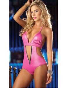 Sexy Hot Pink Plunge Stretch Monokini Bodysuit Small