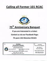 Calling all former 101 RCAC - 75th Anniversary Banquet