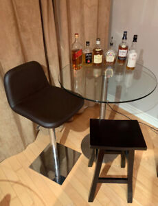 Modern Tempered Glass Table and 2 Brown Bar Stools