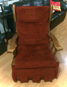 Gorgeous Solid Wood Reclining ROCKING Chair With Red Upholstery