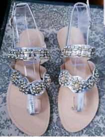 New Sergio Todzi silver Embellished/jewelled Sandals,4/37