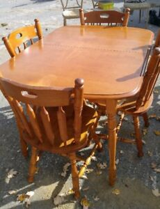 Wood Dining Table with 4 Chairs