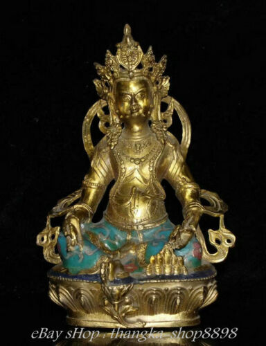 "8"" Antique Tibetan Cloisonne Bronze Yellow Jambhala  Wealth God Buddha Sculpture"