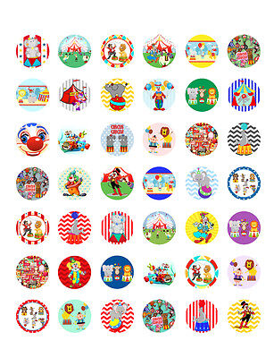 Circus/ Carnival Themed PRINTABLE Bottle Cap Images ~ 42 Different Designs!