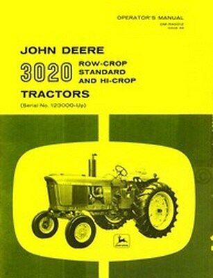 John Deere Model 3020 Tractor Operators Manual Jd
