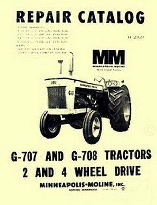 Minneapolis Moline G-707 G-707 G707 G708 Lp Gas Diesel Tractor Parts Manual