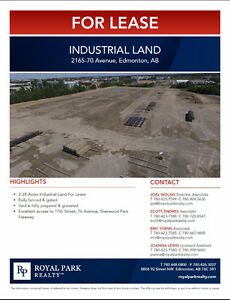 2-28 Acres Industrial Land for Lease