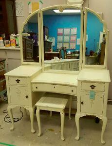 Elegant Antique Vanity & Bench