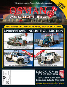 INDUSTRIAL AUCTION ON MARCH 6TH IN EDMONTON, AB.