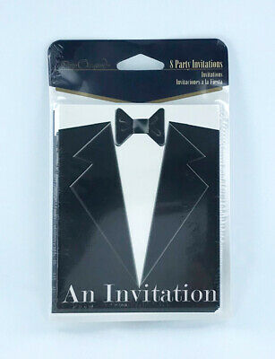 Tuxedo Black Tie Invitations, Lot of 5 Packs - 8/pack, formal, wedding, tux Black Tie Wedding Invitations