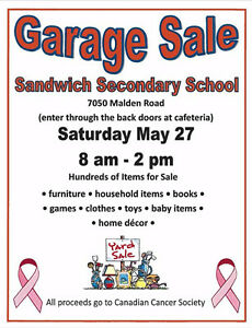 GARAGE SALE! Saturday May 27th at Sandwich Secondary School