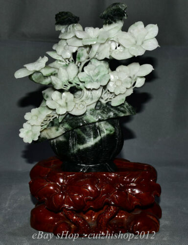 """11"""" Finely China Natural Dushan Green Jade Carving Flower Basket Statue"""