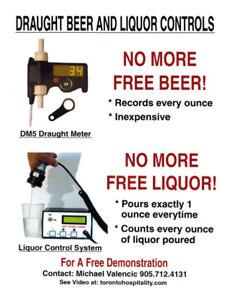 Draft beer meters liquor counters liquor system
