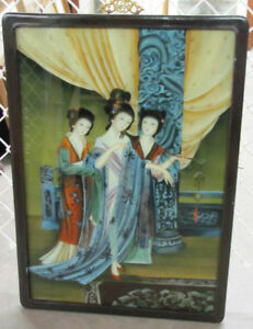 Vintage Geishas on Reversed-Paint Glass