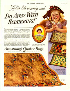 1936 large (10 ½ x 13 ½ ) magazine ad for Armstrong Quaker Rugs