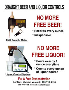 Draft Beer meters counters liquor system controls meters counter
