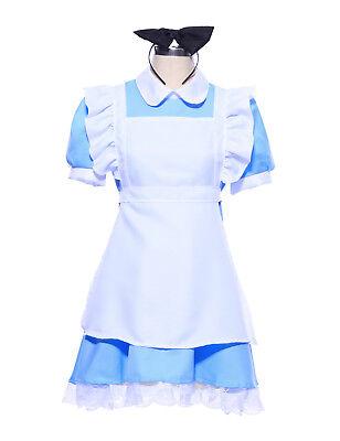 Ladies Alice in Wonderland Maid Costume Fairy Tale Cosplay Lolita Fancy Dress