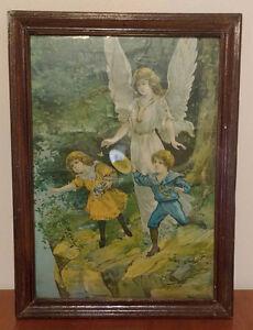 Vintage - Antique -The Guardian Angel Decorative Image Print