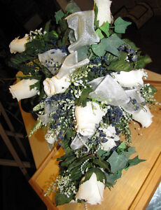 Stunning Ivory Rose with Navy Accents Bridal Bouquet