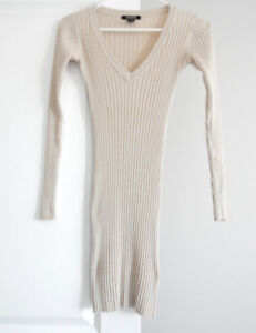 V NECK RIBBED SWEATER DRESS $10