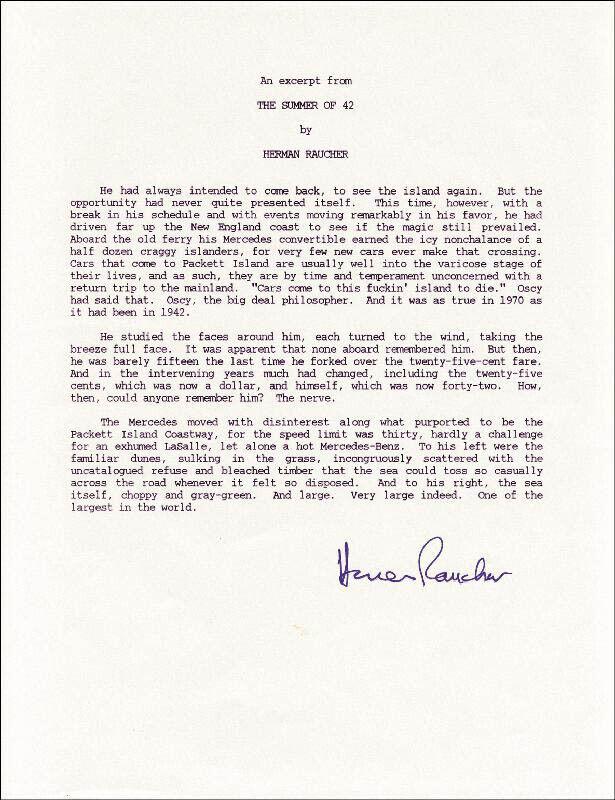 HERMAN RAUCHER - TYPESCRIPT SIGNED