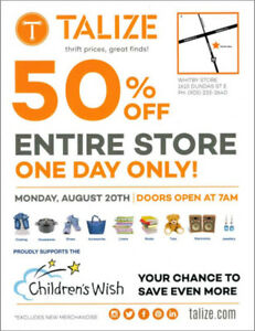 TALIZE WHITBY 50%OFF ENTIRE STORE SALE